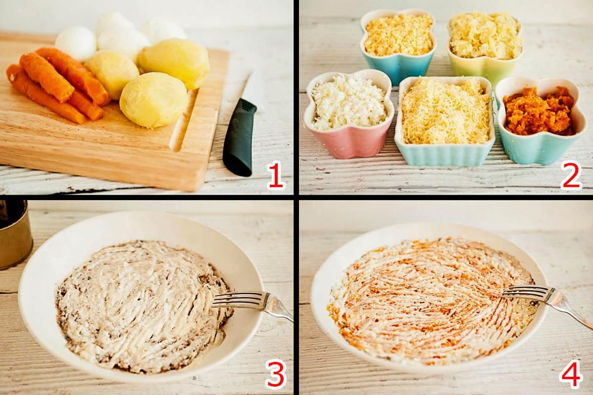 mimoza salati tayyorlash
