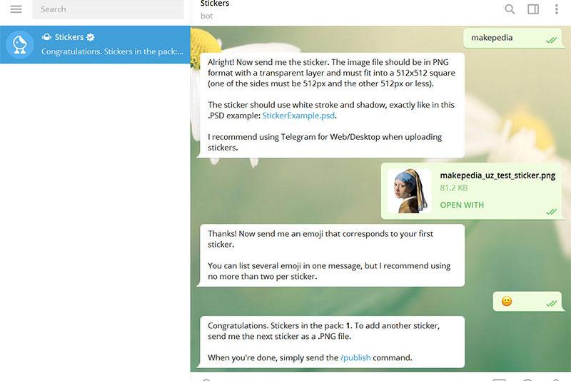 Telegramda stiker yasash — bot uchun buyruqlar, tasvir yaratish usullari